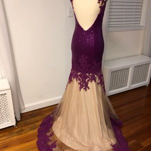 Dave & Johnny Dresses - Purple Sequin Lace Dress (Dave & Johnny)